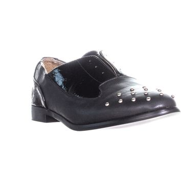 XOXO Robyn Toe Studded Laceless Oxford Flats, Black, 7.5 US / 38.5 EU