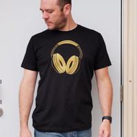 Gold Headphones men's small black t-shirt, dj retro music teens shirt guys hipster electronic