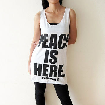 Peace is here Tank Top T-Shirt Women Size M