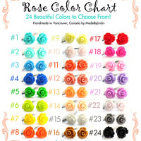TWO PAIRS of Rose Stud Earrings - Choose Your Colors - 24 Colors to Choose From