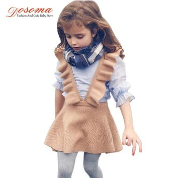 Dosoma autumn baby girls dress fashion girl clothing knit sweater kids dresses for girls solid sleeveless school uniform vestido