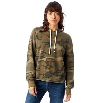 Alternative Apparel - Day Off Printed Burnout French Terry Camouflage Green Hoodie
