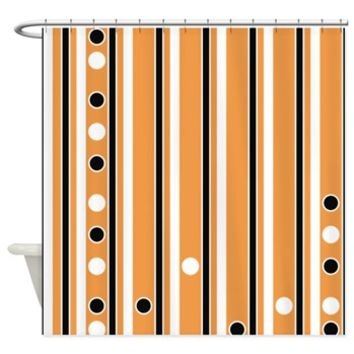 Stripes And Dots Black Orange White Shower Curtain> Polka Dotted Shower Curtains> Shower Curtains