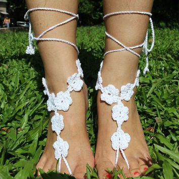 "8SEASONS Cotton Crochet Foot Anklets Foot Jewelry Accessories Beach Anklet Wedding Barefoot Sandles 138cm(54 3/8"") Long, 1 PC"
