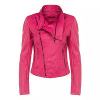 Rose Faux Leather Side Zipper Turn-Down Collar Jacket