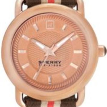 Sperry Top-Sider Hayden Watch RoseGold/PinkStripeNylon, Size One Size  Women's