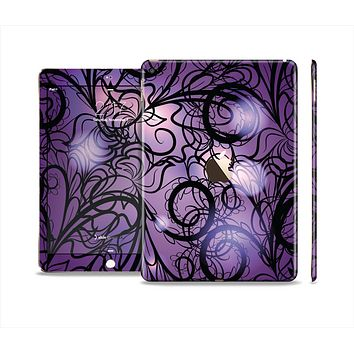 The Violet with Black Highlighted Spirals Skin Set for the Apple iPad Air 2