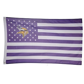 1 pcs American minnesota vikings Flag with white line 90*150 cm 3x5 ft rugby game team flags and Banners Free shipping
