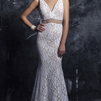 Long Lace Mock Two Piece V-Neck Prom Dress