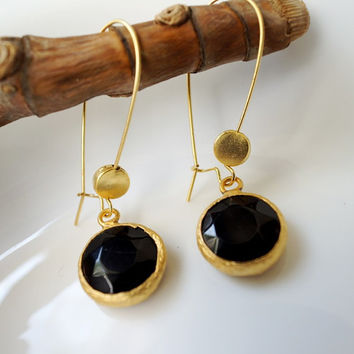 Black Jade Earrings with small coin