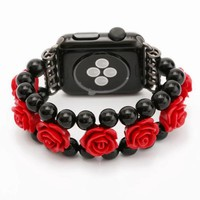 Red Rose Flower Pendants Black Agate Wrist Watch Band for 38/42mm Apple Watch Series 1/2 Spiral Flexible Cord I231.