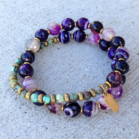 Purple Agate and African Turquoise 27 Bead Wrap Mala Bracelet