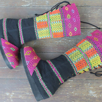 Vegan Moccasin Style Ethnic Womens Tall Boots Lace up  Colorful Boots - Viva