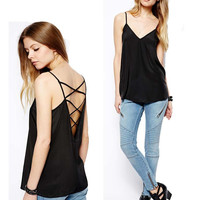 Comfortable Summer Beach SexyFine Strap Backless Vest [4966099076]