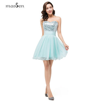 Simple Mint Green Sequins A Line Cocktail Dresses 2016 Off the Shoulder Sweetheart Neck Lace Up Back Short Girls Party Dress