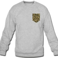 animal print FAKE Pocket Sweatshirt Crew Neck