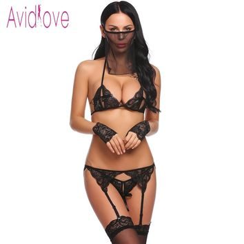 Sexy Hot 5 Pieces Lingerie Set Lace Bra with Thong Brief Garter Floral Baby Doll