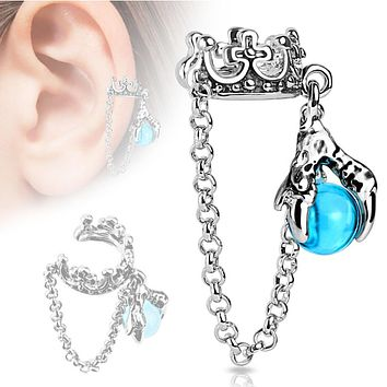Crown with Chain and Dragon WildKlass Ball Dangle Non-Piercing WildKlass Ear Cuff (Sold by Piece)
