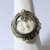 Balinese Bone Sterling Silver 925 Poison Ring, Pill Box Ring, Size 7.5