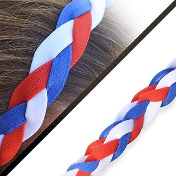 Softball Stitch Headband- Red/Blue