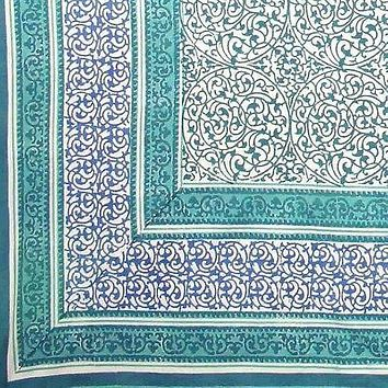 Handmade 100% Cotton Persian Block Print Tapestry Tablecloth Coverlet 70x106