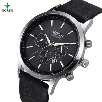 NORTH Men Watch Luxury Brand Fashion Male Wristwatch  30M Waterproof Sport Watch Casual Genuine Leather Quartz Business Watches