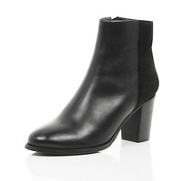 River Island Womens Black leather contrast back heeled boots