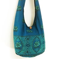 Women bag Handbags Cotton bag Elephant bag Hippie Hobo bag Boho bag Shoulder bag Sling bag Messenger bag Tote bag Crossbody bag Purse Teal