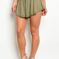 Women Fashion Boho Peasant Relaxed Style Shorts Hot Pants Short Shorts Casual Olive Green