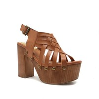 ELMA-25A Cognac Leather Wooden Sandal
