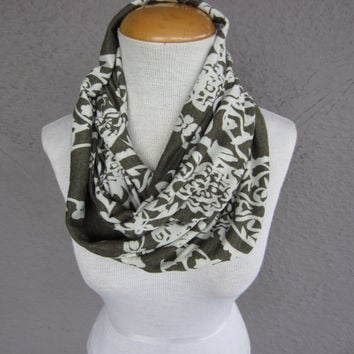 Floral Infinity Scarf - Green and White Floral Scarf - Romantic Floral Print Cowl