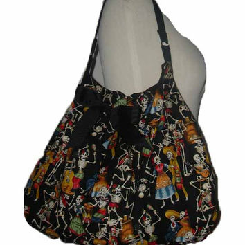 Skull Goth Day of the Dead Fiestive  party Dancing fiesta Large Slouch Hobo Handbag Diaper bag Overnight Bag