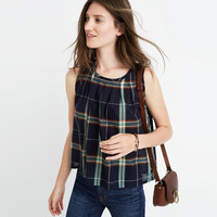 Plaid Pleated Tank Top