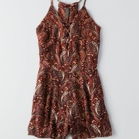 AEO Lace-Up Front Romper, Rust