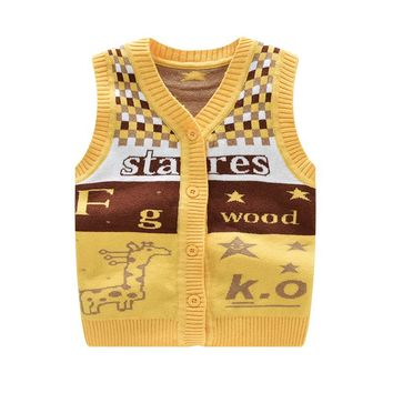 2017 Cartoon Deer Newborn Vest Fashion Star Newborn Clothes Cotton Letter Baby Vest Knitted Wool Cardigan Vests Baby Clothing