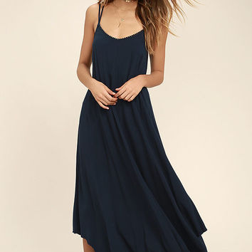 Others Follow Kiara Navy Blue Maxi Dress