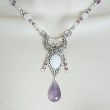 Crescent Moon Necklace, handmade jewelry moonstone amethyst wiccan pagan wicca goddess witch witchcraft