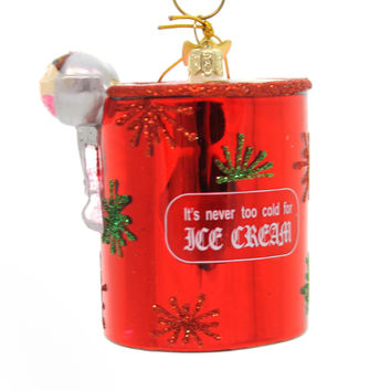 Holiday Ornaments Ice Cream Pint Noble Gem Glass Ornament