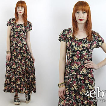 Vintage 90s Black Floral Maxi Dress S Soft Grunge Dress Black Dress Black Floral Dress 90s Grunge Dress 90s Floral Dress Floral Midi Dress