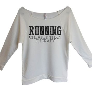 Running Cheaper Than Therapy Womens 3/4 Long Sleeve Vintage Raw Edge Shirt