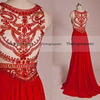 Luxury Vintage Sparkling Red Round Neck All Beads See-through Long Prom Evening Gowns,senior dress,evening dresses,long prom dresses,prom dr