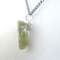 Raw Green Beryl Pendant Sterling Silver .925 Wire Wrapped Heliodor Green Beryl Jewelry Crystal Color Trends Wiccan Jewelry FREE SHIPPING
