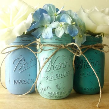 Three, Hand Painted Mason Jars - Rustic, Style Home Decor/Wedding Decor -- Shades of Blue Painted Mason Jars