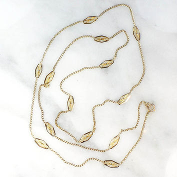 Vintage Gold Chain 14k Gold Fancy Link Chain Yellow Gold 26 Inch Chain Thin Cuban Link with Flat Diamond Shape Accent Links