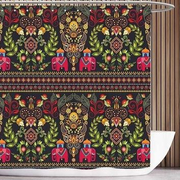 Indian Bohemian Style Shower Curtains Hooks Included