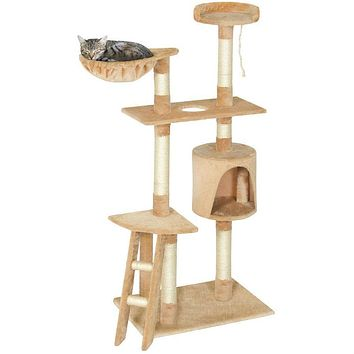 Beige 59 Inch Large Cat Tree Scratcher Condo Play House