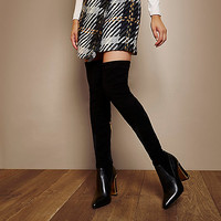 RI Studio black leather over-the-knee boots