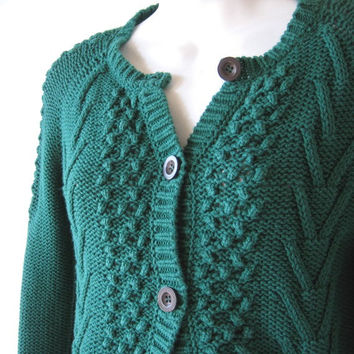 Cable Knit Emerald Green Cropped Cardigan - XS-Small Dark Green Cardigan Sweater - Grunge/Artsy/Boho/Trad/Bookish/Teacher Button Up Sweater