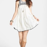 Free People Embroidered Bib Cotton Shift Dress