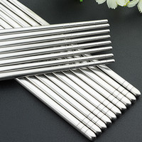 Hot Sale 5 Pairs Stainless Steel Traditional Chinese Sliver Chopsticks Reusable Non-Slip Hashi Sushi Sticks Tableware Sets